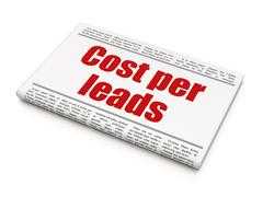 Business concept: newspaper headline Cost Per Leads Stock Illustration