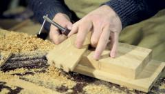 Woodworker Applying Glue to Boards Stock Footage