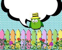 Birds with bubbles speech and garden fence nature - stock illustration