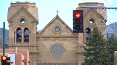 Zoom Out Shot of Cathedral Basilica of St. Francis of Assisi in Santa Fe, NM Stock Footage