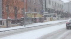 Snow falling down from the sky on the road Stock Footage