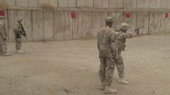 BAGRAM AIR FIELD AFGHANISTAN, JANUAR 2016, US Shooting Training At Firing Range Stock Footage