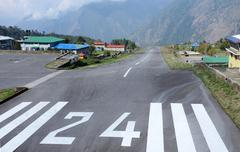 Take-off runway of Lukla Tenzing-Hillary airport in Nepal,Asia - stock photo