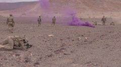 DJIBOUTI, DECEMBER 2015, East African Responce Force Run Secure Area Color Smoke Stock Footage