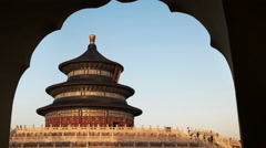 late afternoon view of the temple of heaven, beijing - stock footage