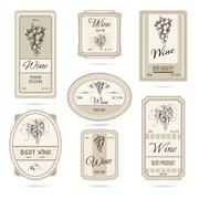 Collection of wine labels Stock Illustration