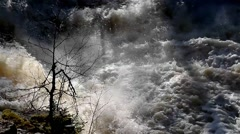 Powerful water in river in early spring - stock footage