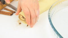The concept of cooking cinnamon rolls - stock footage