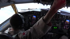 SOUTHWEST ASIA, DECEMBER 2015, Pilot Cockpit Of A KC-135 Strtotanker while Stock Footage
