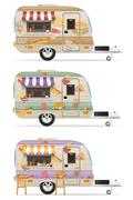 fast food trailer vector illustration - stock illustration