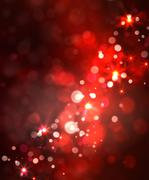 Festive light background with bokeh and stars - stock illustration