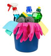 household cleaners in bucket - stock photo