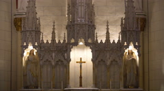 Stock Video Footage of Tracking Shot of Altar at Loretto Chapel in Santa Fe, New Mexico -Zoom Out-