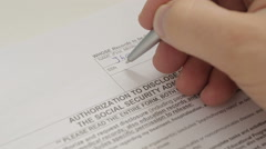 Social security application forms Stock Footage
