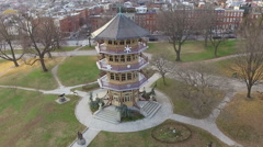 Patterson Park pagoda Aerial- Pull Back Shot Stock Footage