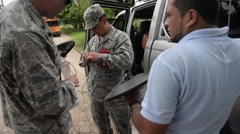 TRUJILLO HONDURAS, JANUAR 2016, US Soldiers Install Satelite Telephone - stock footage