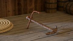 Old rusty anchor Stock Footage