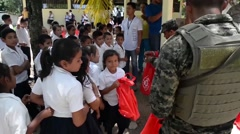 TRUJILLO HONDURAS, JANUAR 2016, Development Assistance Honduras Soldiers Supply Stock Footage