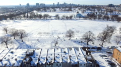 Aerial - Patterson Park Covered in Snow Lower Angle Stock Footage