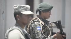 TRUJILLO HONDURAS, JANUAR 2016, Soldiers Secure Area Stock Footage