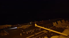 FORT MEADE USA, JANUAR 2016, A US Aircraft Start From Carrier At Night Stock Footage