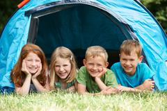Group Of Children On Camping Trip Together Stock Photos