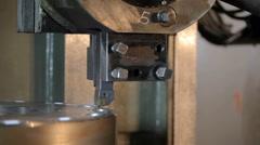 Industrial lathe works metal in Factory Stock Footage