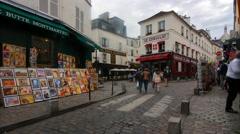 Streets of Montmartre in Paris Stock Footage