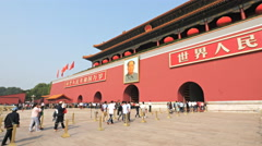 Visitors stream into the gate of heavenly peace, tiananmen square beijing Stock Footage