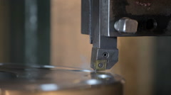 Industrial lathe works metal Stock Footage