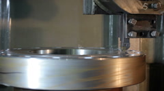 Automatic lathe works metal Stock Footage