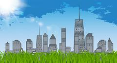 Natural Sunny on background of business city and green grass. Ba Stock Illustration