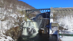Various Angles of Croton Dam from drone Stock Footage