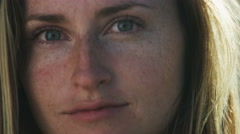Close up of woman with freckles Stock Footage