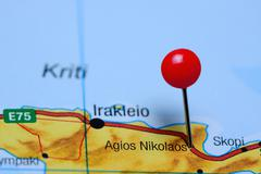 Agios Nikolaos pinned on a map of Greece - stock photo
