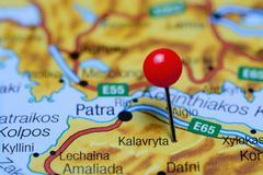 Kalavryta pinned on a map of Greece - stock photo