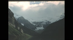 Vintage 16mm film, 1955, Canada, Lake Louise, classic view of the glaciers Stock Footage