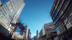 Driving shot looking up at Manhattan buildings Stock Footage