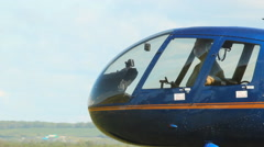 Landing helicopter Robinson R-44 - stock footage