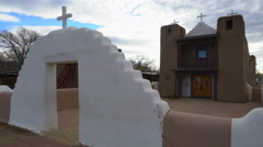 Tracking Shot of Ansel Adams Church in Taos Pueblo, New Mexico Stock Footage