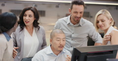 Creative business team meeting happy people working in modern office late at Stock Footage
