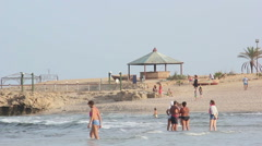 people spend time near the sea, red sea - stock footage