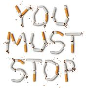 Text ''you must stop'' made from broken cigarettes Stock Photos