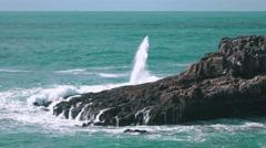 Ocean Waves Breaking on Rock Boca do Inferno - stock footage