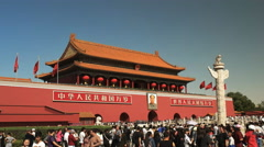oblique view of crowds at the forbidden city at tiananmen square, beijing - stock footage