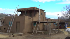 Pan Shot of Traditional Indian House in Taos Pueblo, New Mexico -Medium Shot 2- Stock Footage