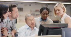 Creative business team meeting in modern glass office multi ethnic group of Stock Footage