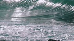 Ocean Waves Breaking on Rock Stock Footage