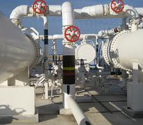 Heat exchangers in a refinery Stock Photos