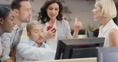 Creative business team meeting happy people working in modern office late at - stock footage